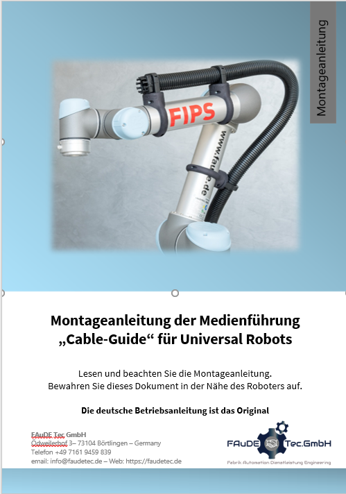 Media routing Assembly instructions for UR5 and UR10 robots